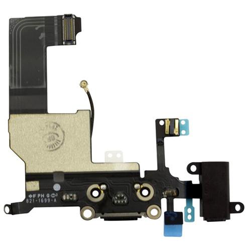 Шлейф iPhone 5 с гнездом зарядки, гнездом на наушники, микрофоном чёрный