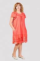 Удобное женское платье на лето свободного кроя из хлопка