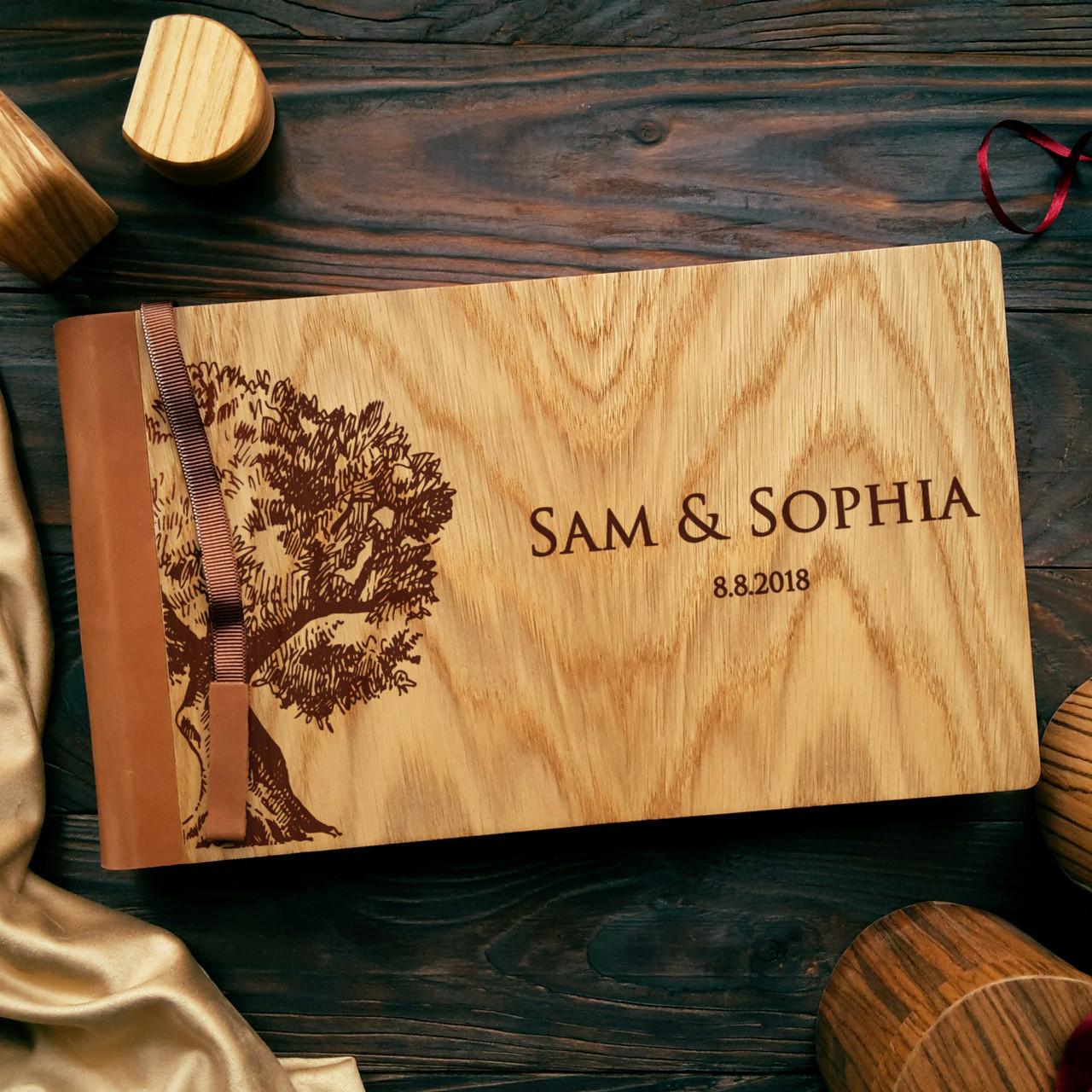 """Деревянная свадебная книга для пожеланий 17х28 см с кожаным корешком """"Дерево"""""""