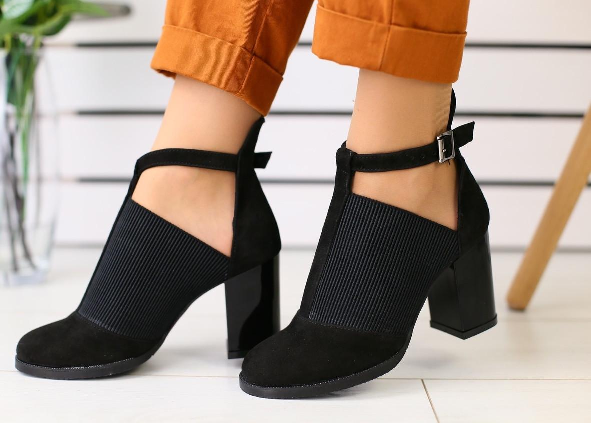 0e249e5333ec Женские закрытые туфли на каблуке, материал - натуральная замша, черный -  SNKRS TWO ИНТЕРНЕТ