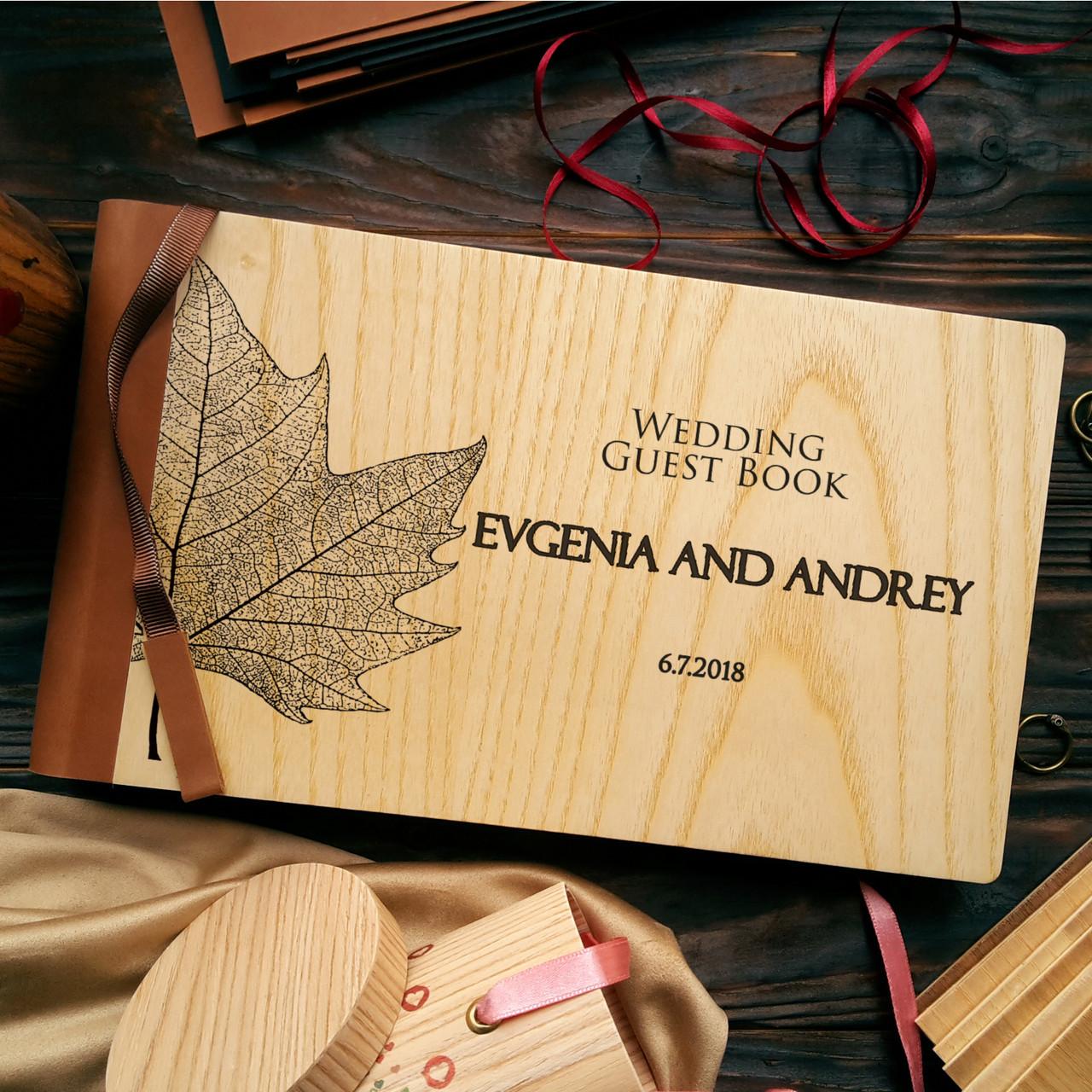 """Деревянная свадебная книга для пожеланий 17х28 см с кожаным корешком """"Кленовый Лист"""""""