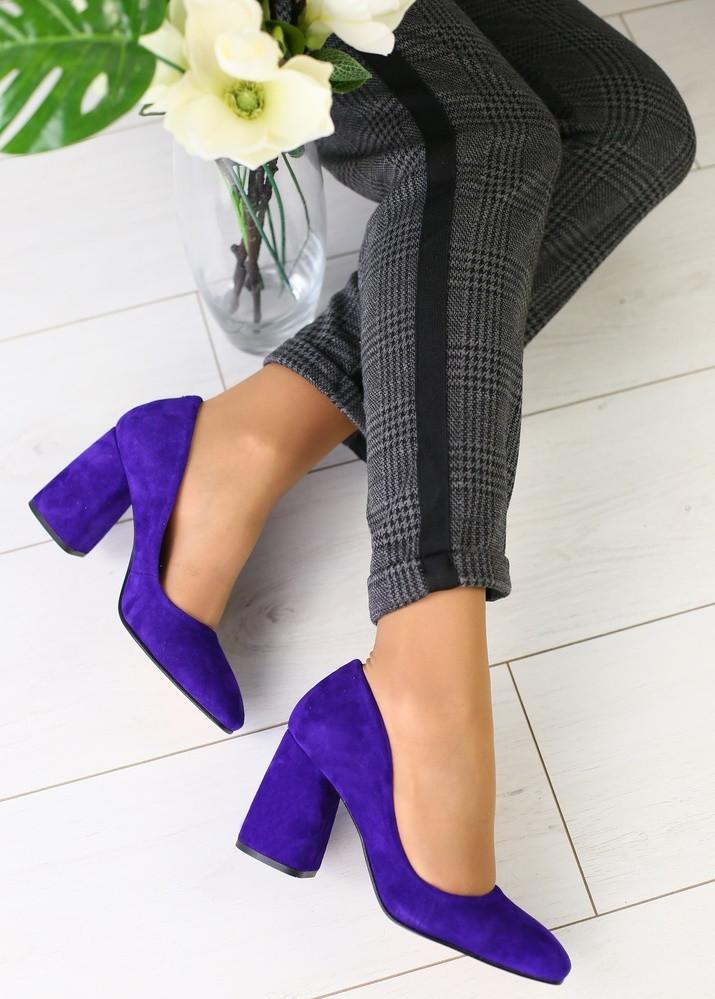 a9466355b Женские туфли на толстом каблуке, материал - натуральная замша, фиолетовый