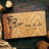 """Деревянная свадебная книга для пожеланий 17х28 см с кожаным корешком """"Цветение Липы"""", фото 1"""