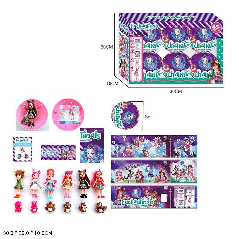 Лялька (кукла) шарі Enchantimals 23408 (24шт/2) герої в шарі, аксес., 6 шт. в упаковці в кор. 30*20*10 см