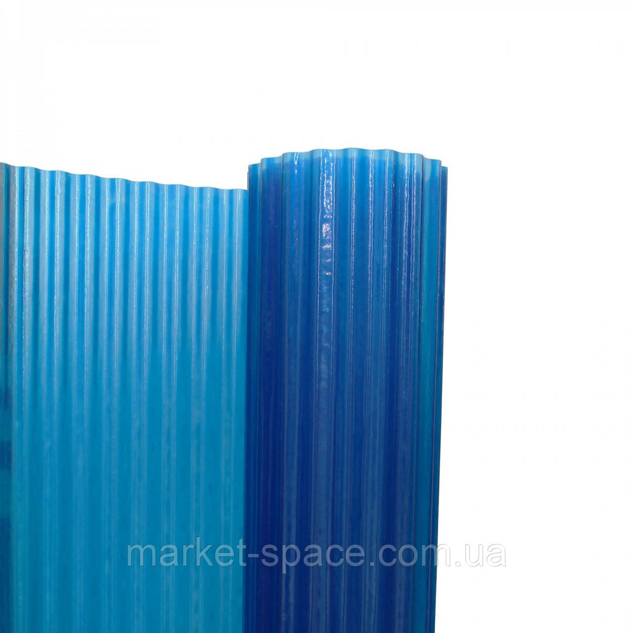 "Пластиковый шифер ""Волнопласт"". Цвет: синий. Размер рулона: Д:21м*Ш:2,5м=52.5 кв.м"