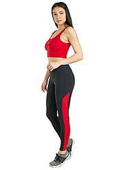 Комплект топ и лосины для спорта (красный) одежда для йоги и фитнеса из бифлекса. женский костюм для спорта