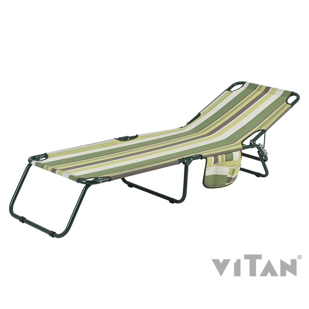 """Раскладушка Витан """"Диагональ"""" d22 мм (текстилен зеленая полоса)"""