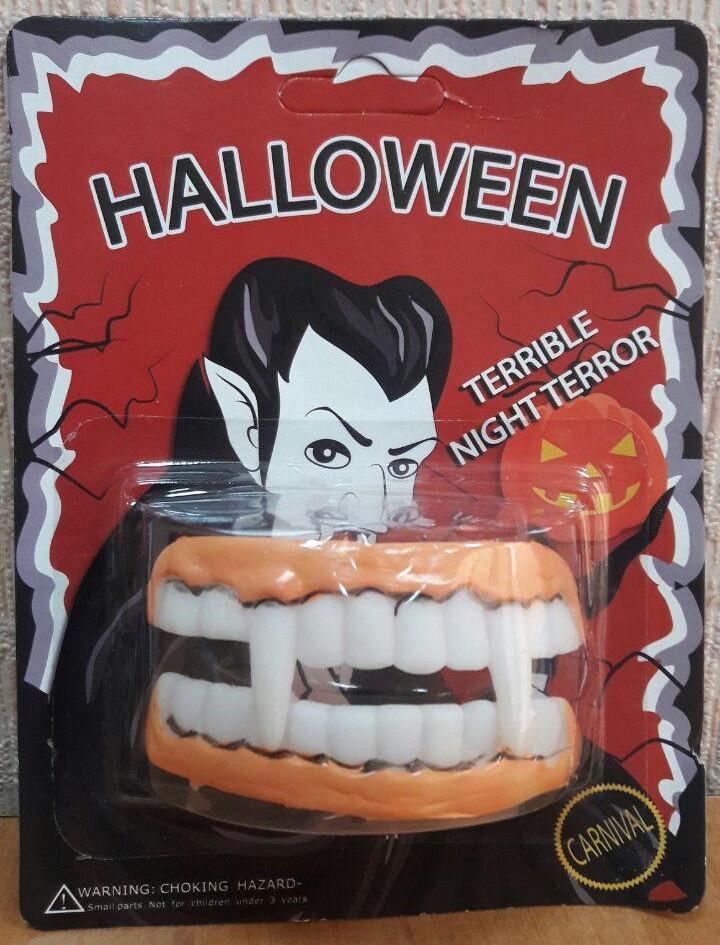 Резиновая челюсть с клыками (челюсть вампира, зомби)