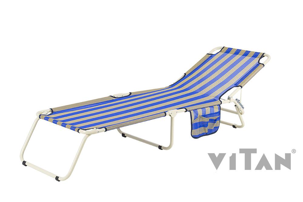 """Раскладушка Витан """"Диагональ"""" d22 мм (текстилен сине-желтая полоса)"""