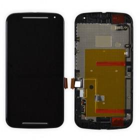 Дисплей Motorola XT1062 Moto G2, XT1063, XT1064, XT1068 + сенсор чёрный + рамка