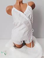 Пижама  женская  хлопок комплект для сна майка и шорты