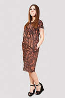 Молодежное женское платье модного кроя с карманами из натуральной ткани