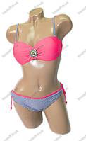 Оптом купальник раздельный бикини с пуш ап - мятный, бежевый, розовый, голубой - 4028