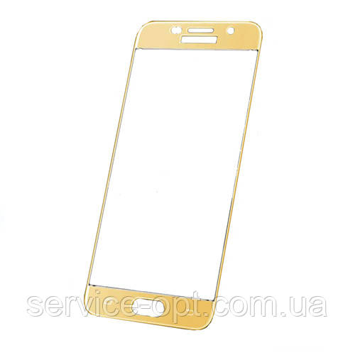 Защитное стекло Samsung A720, A7 (2017) золотое 5D (тех упаковка)