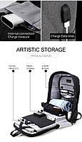Модный городской рюкзак с конструкцией  дюймовантивор дюймов и USB портом Arctic Hunter B00207, 26л, фото 7