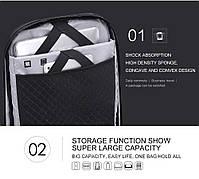 Стильный влагозащищённый дизайнерский рюкзак для бизнеса и путешествий Arctic Hunter B00193, 22л, фото 8