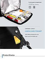 Классический дорожный рюкзак для ноутбука до 15,6 дюймов Arctic Hunter B00113С, влагозащищённый, с USB портом, 28л, фото 7