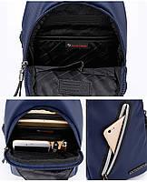Городская сумка-рюкзак с одной лямкой через плечо и отверстием для наушников Arctic Hunter XB13006-A, 4л Синий, фото 6