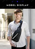Городская сумка-рюкзак с одной лямкой через плечо и отверстием для наушников Arctic Hunter XB13006-A, 4л Синий, фото 8