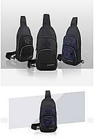 Городская сумка-рюкзак с одной лямкой через плечо и отверстием для наушников Arctic Hunter XB00015, 4л Синий/камуфляж, фото 4