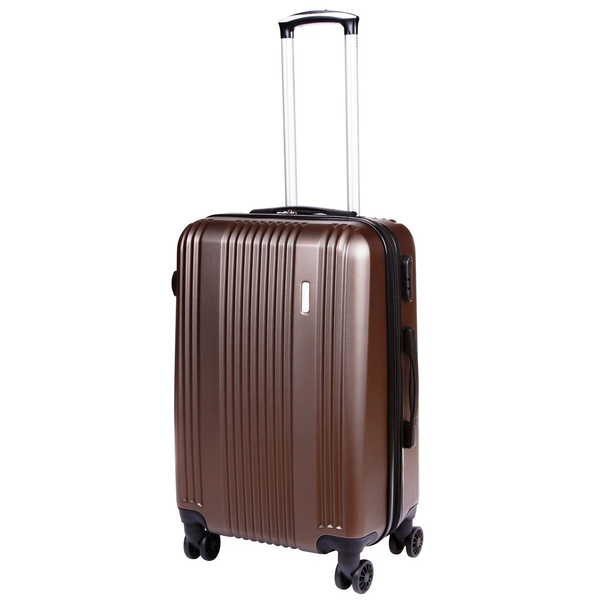 Чемодан с расширением OULANDO средний 4 колеса 42х60х27(+3)  пластик  ABS коричневый ксЛ516-24кор
