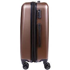 Чемодан с расширением OULANDO средний 4 колеса 42х60х27(+3)  пластик  ABS коричневый ксЛ516-24кор, фото 2