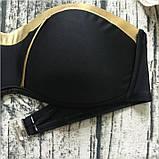 Купальник жіночий роздільний бандо, розмір S (чорний з золотим оздобленням), фото 6