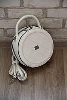 Маленькая белая сумочка женская круглая сумка через плечо кросс-боди