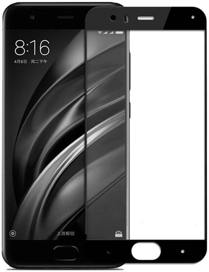 Защитное стекло Xiaomi Mi6 чёрное 5D (тех упаковка)