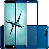 Защитное стекло Huawei Honor 7X 2.5D Full Screen синий (тех упаковка)