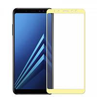 Защитное стекло Samsung A530 Galaxy A8 2018 Full Glue золотое (тех упаковка)