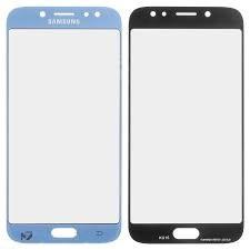 Стекло экрана Samsung J730F Galaxy J7 (2017) голубое + OCA пленка