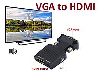 Конвертер VGA to HDMI + Аудио + Питание Адаптер Преобразователь