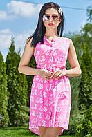 ✔️ Женское летное платье-халат штапельное 42-48 размера розовое, фото 1