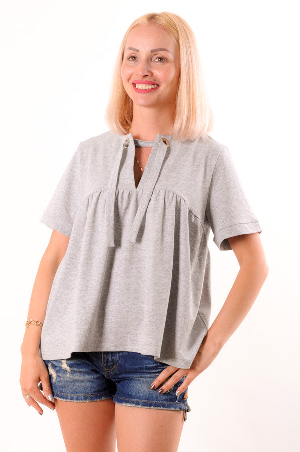 Женская футболка на завязке серая размеры 42-44