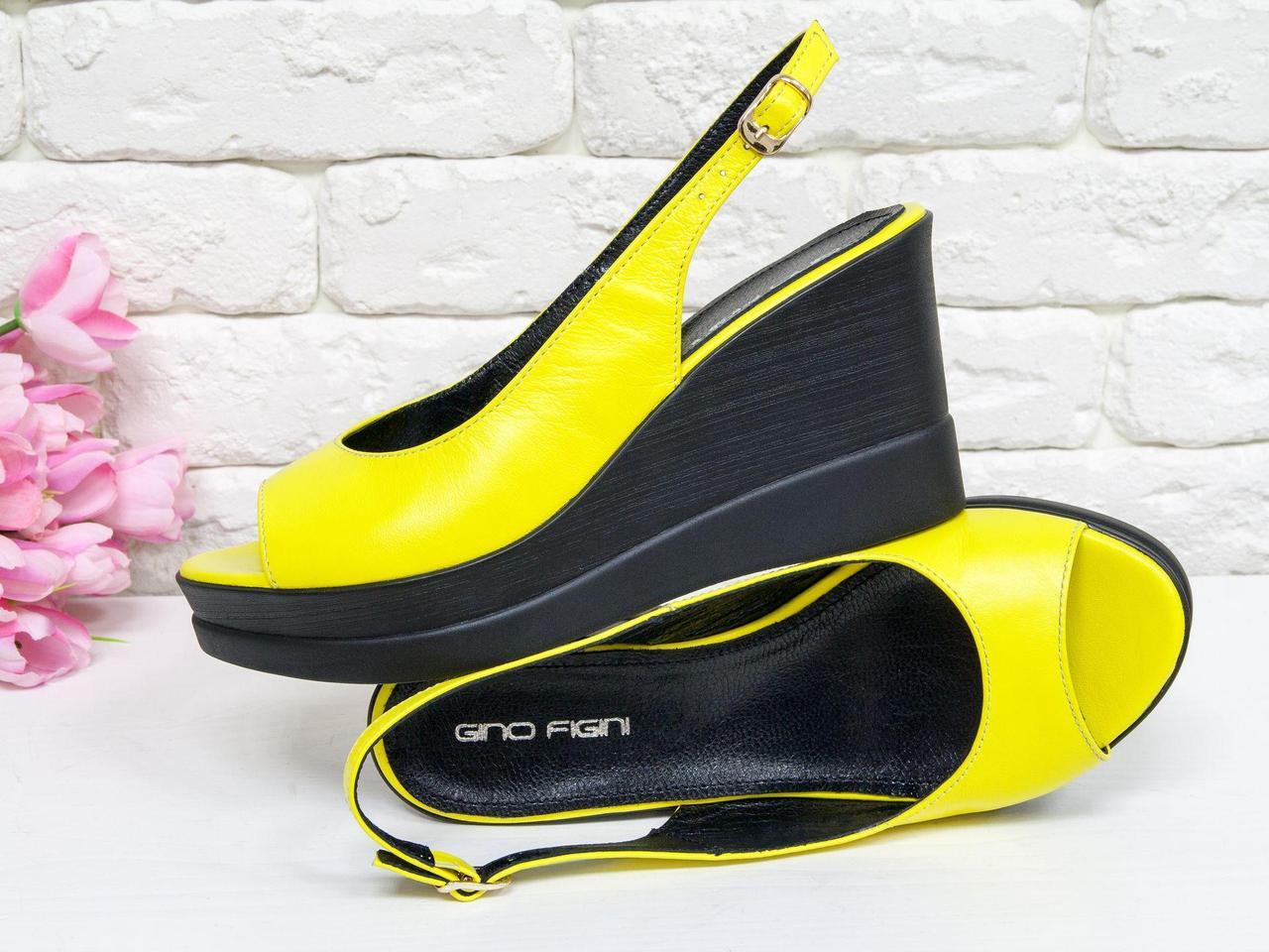 8c6615d874c1 Летние Босоножки на танкетке из натуральной кожи ярко желтого цвета