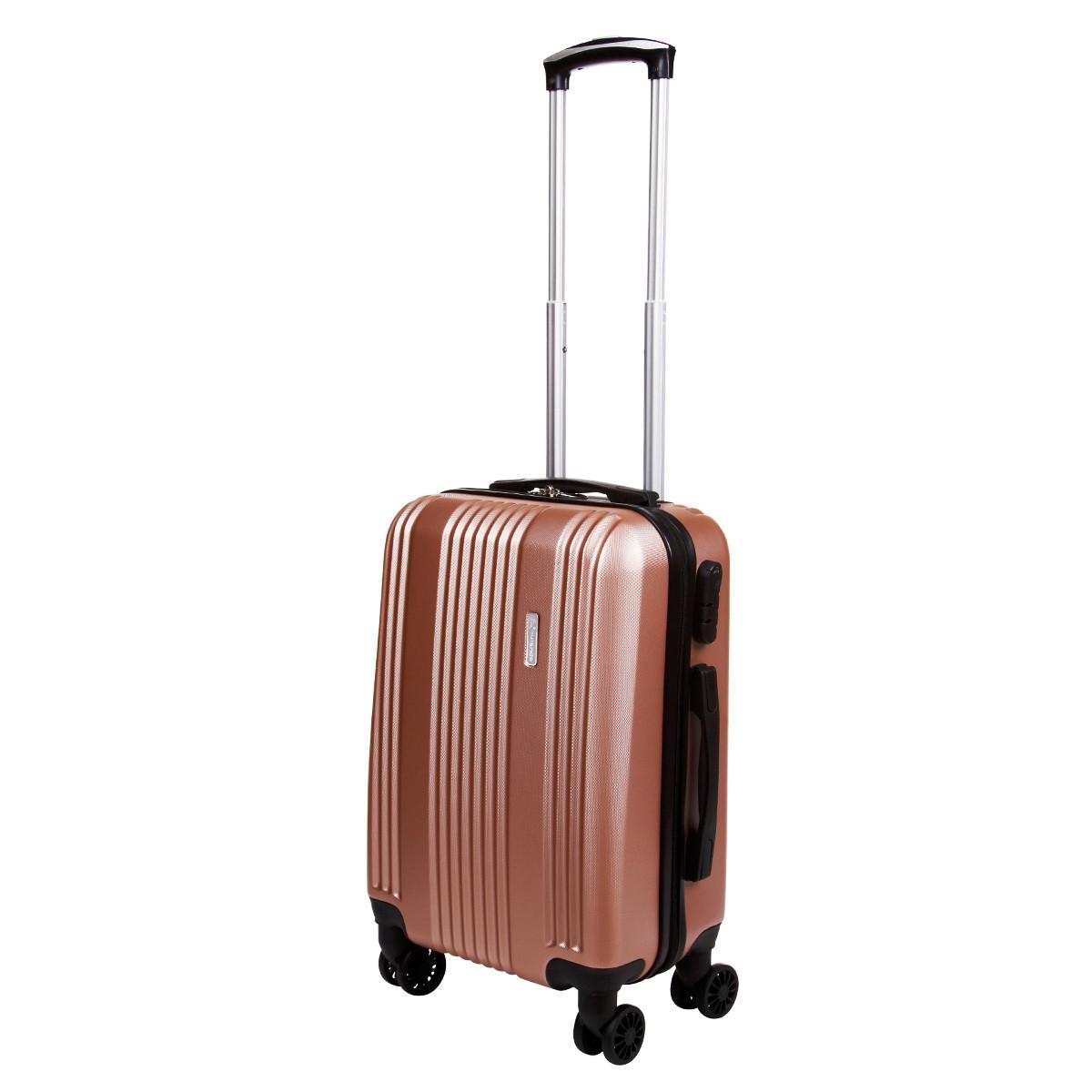 Валіза маленький OULANDO 4 колеса пластик ABS 36х48х22 рожевий ксЛ516-20роз