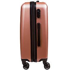 Валіза маленький OULANDO 4 колеса пластик ABS 36х48х22 рожевий ксЛ516-20роз, фото 2