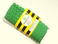 Тесьма зигзаг вьюнок ( зиг-заг )  5-6 мм, Тасьма зигзаг в'юнок, в'юнчик ( 30 метрів) зелений