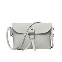 Маленькая женская летняя ретро сумка  серого цвета