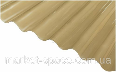 "Пластиковый шифер ""Волнопласт"". Цвет: бронза. Размер рулона: Д:21м*Ш:2м=42 кв.м"