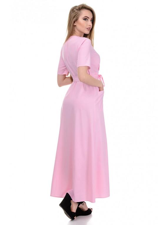 d4a02e442b0f Длинное розовое женское нежное платье