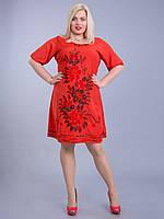 Платье красное с цветами, роспись - ручная работа, на 48-50 р-ры