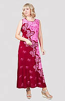 Легкое летнее платье прямого пошива с красивым принтом материал хлопок