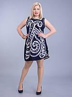 Платье синее с белым батиком, на 46-52 р-ры