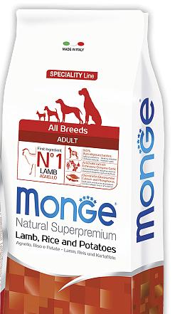 Корм Monge Dog All breeds Adult Lumb & Rice Монж Дог Едалт для дорослих собак всіх порід 2.5 кг
