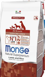 Корм Monge All breeds Puppy Junior Lamb & Rice Монжа Паппі Юніор для цуценят всіх порід 15 кг
