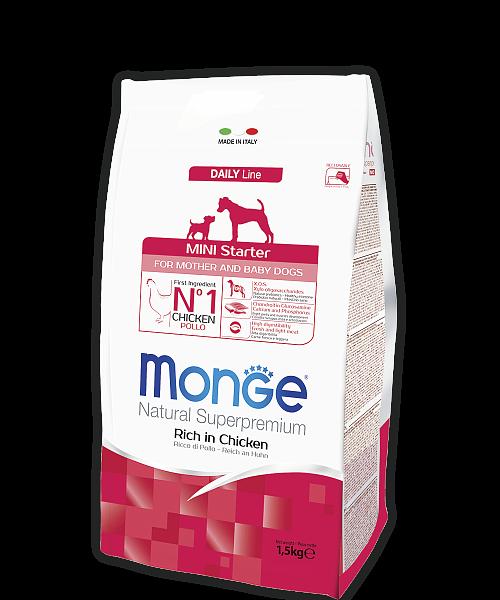 Корм Monge Dog Mini Starter Монж Дог Міні Стартер для цуценят і годуючих собак порід міні 1,5 кг