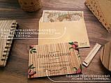 """Деревянный пригласительный 10х15 см из шпона дерева """"Красный венок"""", фото 2"""
