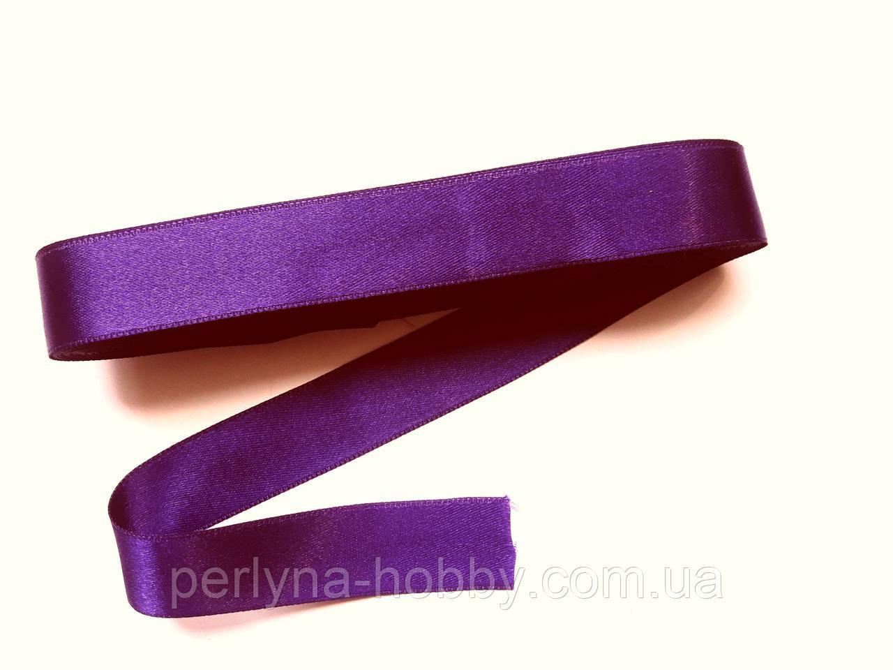 Стрічка атласна  двостороння 2 см Лента атласная двухсторонняя.( 10 метрів), фіолетова